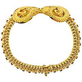 Greek Ram's Head Ruby Gold Bracelet