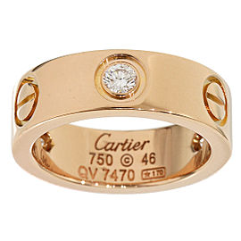 Cartier 18K Pink Gold Half Diamonds Love Ring Size 3.75