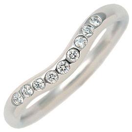 Tiffany & Co. 9P Diamond Platinum Curved Band Ring