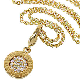 BULGARI BVLGARI 18K Yellow Gold BB Pave Diamonds Necklace Pendant TNN-1660