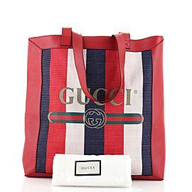 Gucci Logo Tote Striped Canvas and Leather Medium