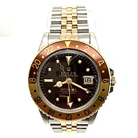 ROLEX OYSTER PERPETUAL GMT-Master ROOT BEER 18K Yellow Gold & Steel Watch