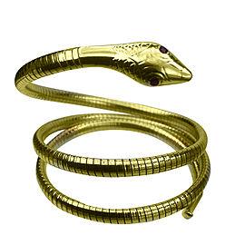 Vintage 14K Yellow Gold with Ruby Flexible Snake Cuff Wrap Bracelet