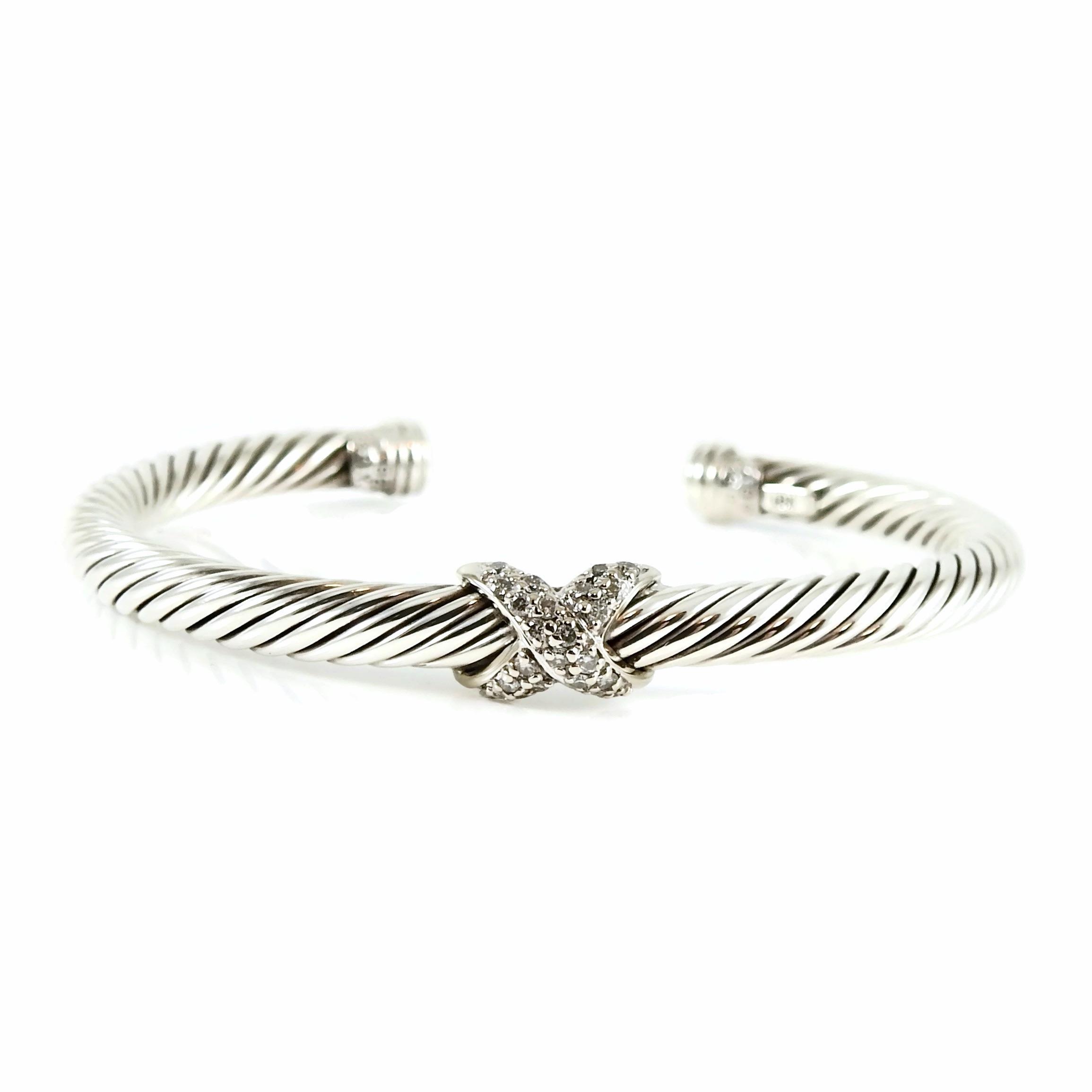 $475 David Yurman Silver 925 Renaissance Bangle Bracelet with 18k Gold Dome 4mm