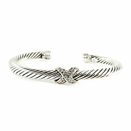 David Yurman Sterling Silver 18K White Gold .25tcw 5mm Pave Diamond X Bracelet