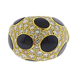 Diamond Enamel Gold Dome Ring