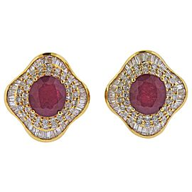 Ruby Diamond Gold Cocktail Earrings