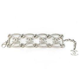 Chanel Silver Tone CC Crystal Bracelet