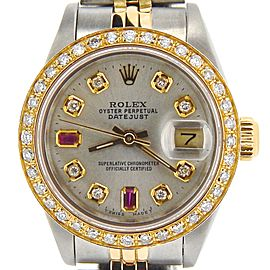 Ladies Rolex Two-Tone 18K/SS Datejust Silver Diamond Ruby 69173
