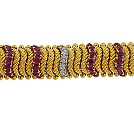 1960s Gold Diamond Ruby Bracelet
