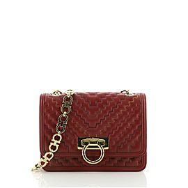 Salvatore Ferragamo Silvy Flap Bag Zigzag Quilted Leather