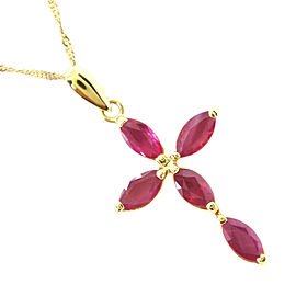 18k yellow gold/Ruby cross Necklace