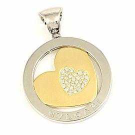BVLGARI 18K Yellow Gold Stainless Stell Diamond Heart Tondo Necklace Charm Pendant CHAT-21