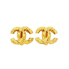 Chanel CC Logo Double C Gold Tone Hardware Clip On Earrings