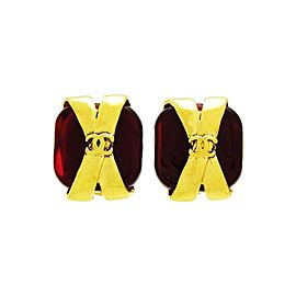 Chanel Gold Tone Hardware with Red Glass Stone Earrings