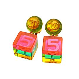 Chanel CC Logo Gold Tone Metal No.5 Pink Cube Dangle Earrings