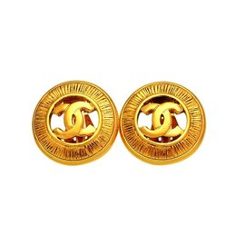Chanel CC Logo Gold Tone Hardware Vintage Earrings