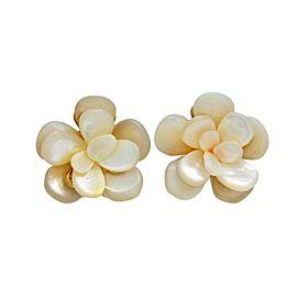 Chanel CC Logo White Shell Flower Earrings