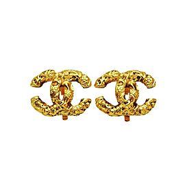 Chanel CC Logo Gold Tone Metal Double C Earrings