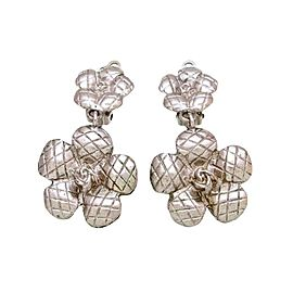 Chanel CC Logo Silver Tone Metal Camellia Flower Dangle Earrings