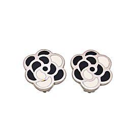 Chanel CC Logo Silver Tone Metal Camellia Flower Earrings