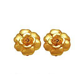 Chanel CC Logo Gold Tone Metal Camellia Flower Earrings