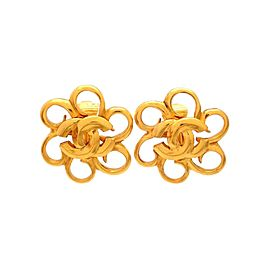 Vintage Chanel Earrings Gold Flower With CC Logo