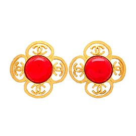 Vintage Chanel Earrings Gold Flower CC Red Stone