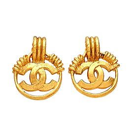 Vintage Chanel Earrings CC Logo Hoop Dangled