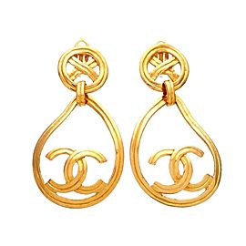 Vintage Chanel Earrings Round Cross Clip Teardrop Hoop CC Logo Dangled