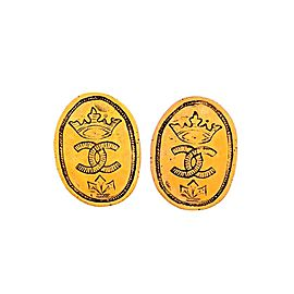 Vintage Chanel Earrings Oval Medal Engraved Crown CC Logo