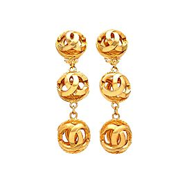 Vintage Chanel Earrings CC Logo Balls Dangled