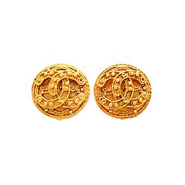 Vintage Chanel Earrings Round CC Logo Decorative