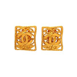 Vintage Chanel Earrings Square Decorative CC Logo