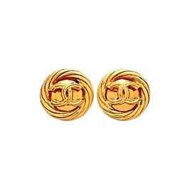 Vintage Chanel Earrings Round Rope CC Logo