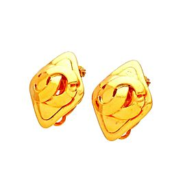 Vintage Chanel Earrings Rhombus CC Logo