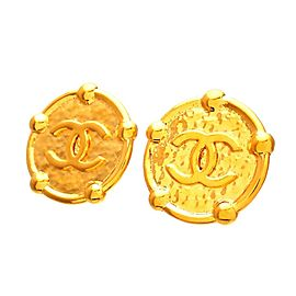 Vintage Chanel Earrings Gold Medal CC Logo