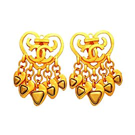 Vintage Chanel Earrings Heart CC Logo Clip Many Inverted Triangle Dangled