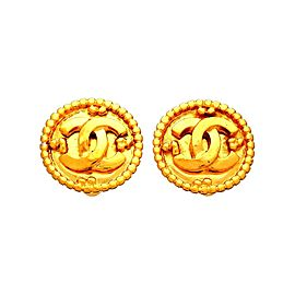 Vintage Chanel Earrings CC Logo Framed Round Double C