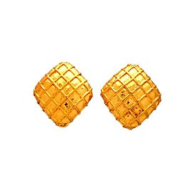 Vintage Chanel Earrings Mesh Rhombus
