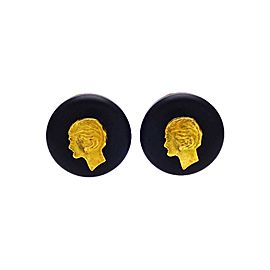 Vintage Chanel Earrings Black Round Gold Coco Profile