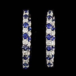 14k White Gold Blue Sapphire and Diamond Hoop Earrings