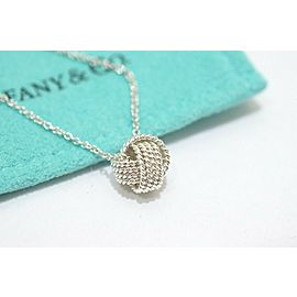 Tiffany & Co. Sterling Silver Somerset Mesh Twist Knot Pendant Necklace