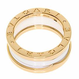 BVLGARI 18k Pink Gold White Ceramic B-zero1 Ring