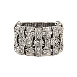 Roberto Coin Appassionata 18K White Gold with 1.6ct Diamond 3 Row Ring Size 7.5