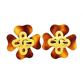 Chanel CC Logo Gold Tone Hardware Brown Clover Earrings