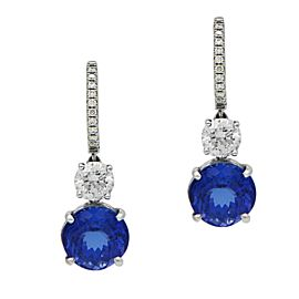 Sea Wave Diamonds 18k White Gold 7.59CT Diamond and Tanzanite Earrings