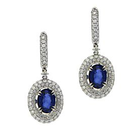 Sea Wave Diamonds 18k White Gold 2.84CT Sapphire 2.17CT Diamond Blue Sapphire and Diamond Earrings