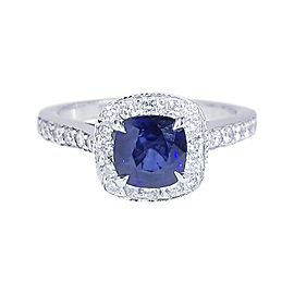 14K White Gold 1.10ct Blue Sapphire and 0.45ctw. Diamonds Engagement Ring Size 6.5