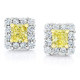 Platinum 18K Yellow Gold 1.96ct. Diamond Screw back Earrings